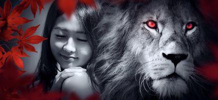 Бесплатные фото эмоции,портрет,лев,девушка,глаза,красота,волосы
