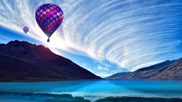 Photo free balloons, clouds, mountains