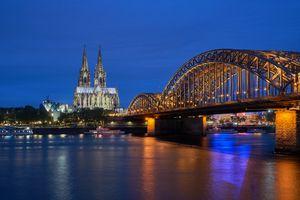 Бесплатные фото Кёльнский собор,Кёльн,Германия,закат,сумерки