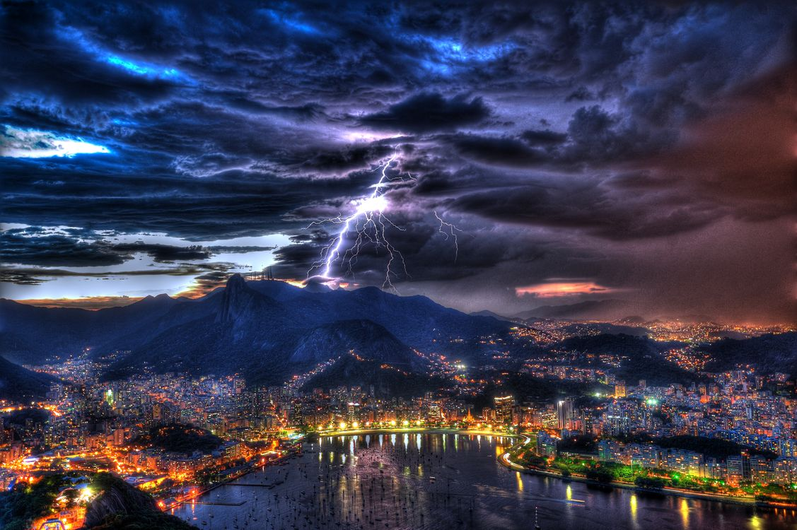 Фото бесплатно Рио де Жанейро, Бразилия, Rio de Janeiro, Brazil, город, закат, тучи - на рабочий стол