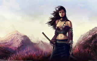 Фото бесплатно катана, девушка, войн, меч, рисунок, красиво, волосы, длинные, горы, ветер