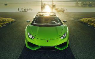 Фото бесплатно Lamborghini Уракан, зеленый, вид спереди