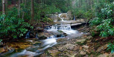 Бесплатные фото лес,деревья,речка,камни,скалы,водопад,течение