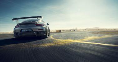 Фото бесплатно Porsche 911, серебристый, трасса