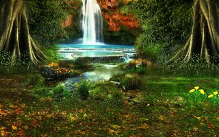 Заставки водопад, лесной пейзаж, трава