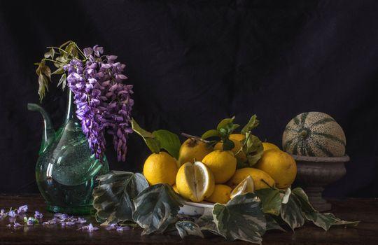 Фото бесплатно лимоны, глициния, дыня