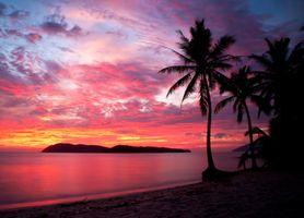 Заставки Малайзия, закат, пляж
