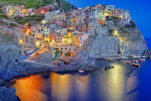Фото бесплатно ночные огни, Чинкве-Терре, Италия