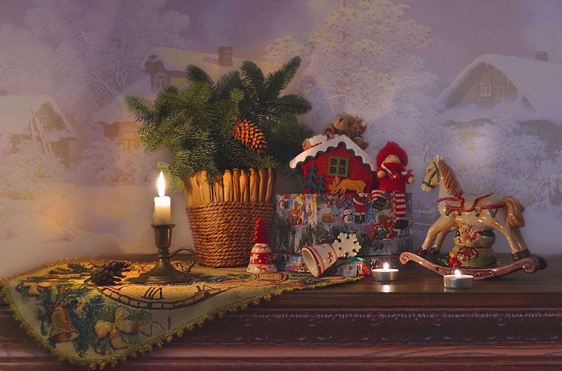 Фото бесплатно Рождество, свеча, натюрморт - на рабочий стол