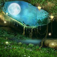Бесплатные фото Заколдованная пещера с фонарями,Фатрикс,фантастика,луна,ночь,цветы,бабочки