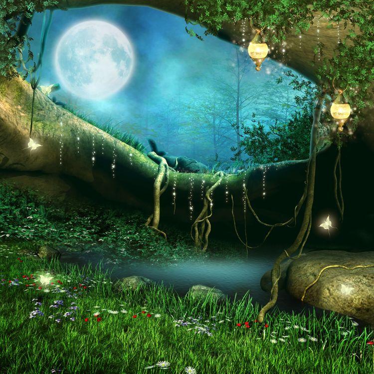 Фото бесплатно Заколдованная пещера с фонарями, Фатрикс, фантастика, луна, ночь, цветы, бабочки, art, рендеринг