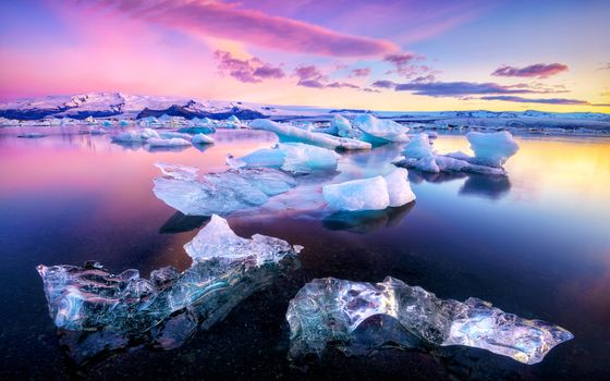 Photo free landscape, Ocean and sea ice, Jokulsarlon