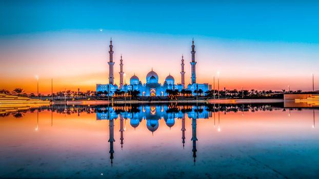 Фото бесплатно Даби, Большая Мечеть Шейха Зайда - Абу-Даби, закат