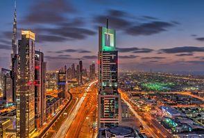 Небоскребы Дубая в ночное время суток