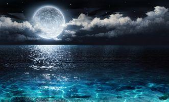 Фото бесплатно Луна, над, океаном