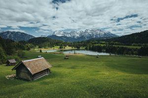 Бесплатные фото Озеро Герольдзее,пасмурный день,Германия,Geroldsee,Южный Тироль,Альпы,Гармиш