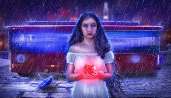 Бесплатные фото разбитое сердце,девушка,слезы,дождик,art