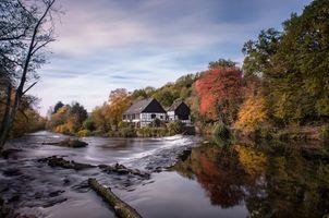 Фото бесплатно водослив, Wupper, Золинген, Музей Промышленности и Шлифовки, Германия, осень, река, деревья, течение, природа, пейзаж