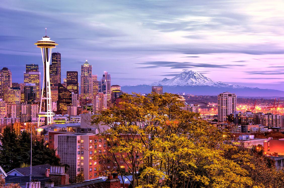 Обои Сиэтл, Вашингтон, Город, США, закат на телефон | картинки город