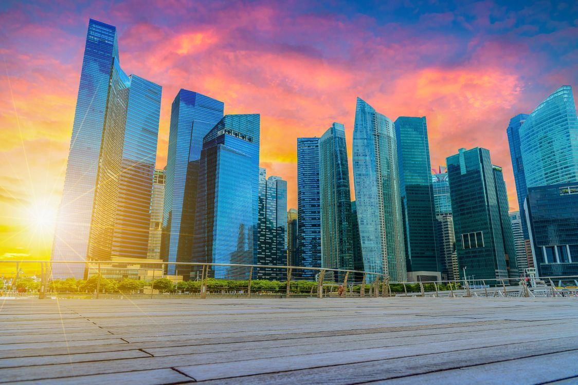 Фото бесплатно город, Сингапур, сумерки - на рабочий стол