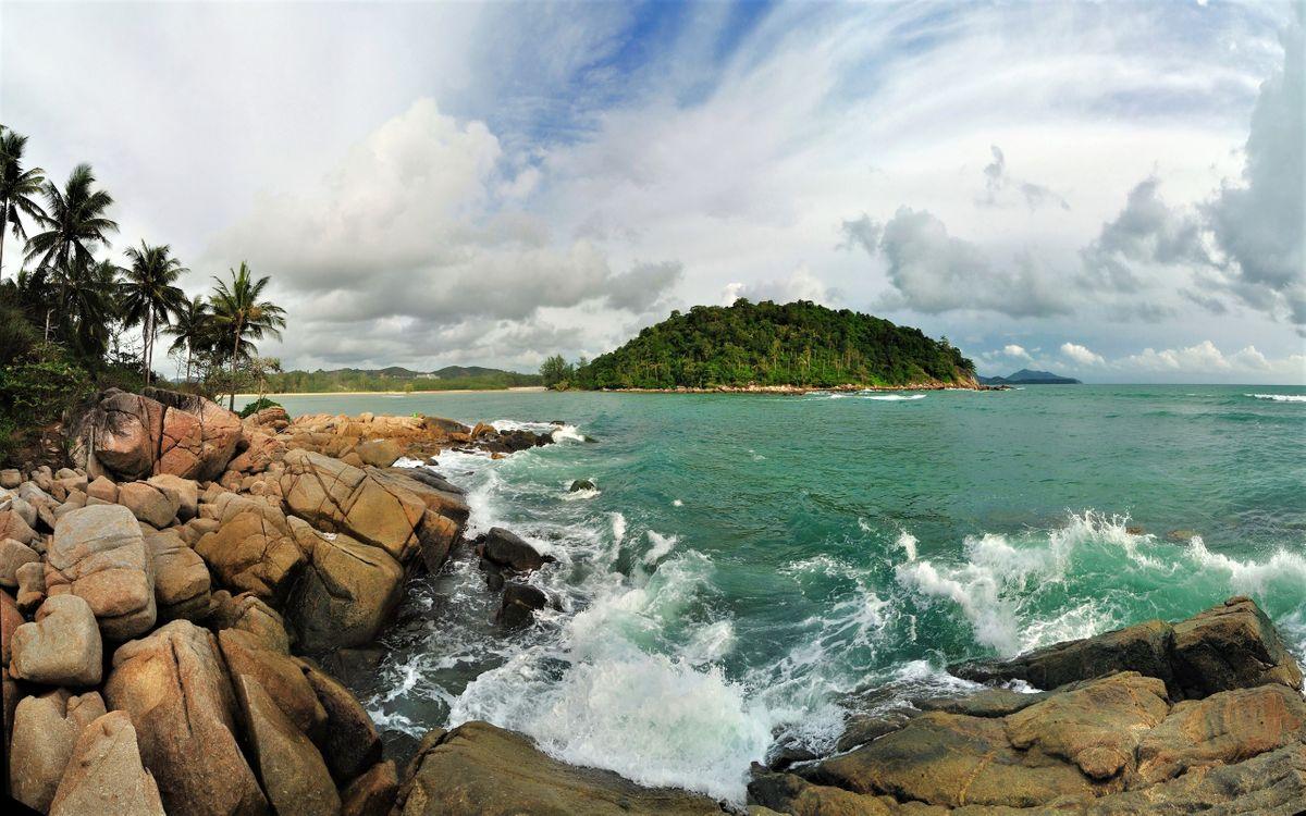 Фото бесплатно тропический остров, волны, океан - на рабочий стол