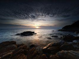 Фото бесплатно берег, сумерки, море
