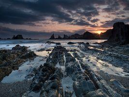 Заставки закат, море, скалистый берег