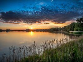 Фото бесплатно закат, облака, деревья