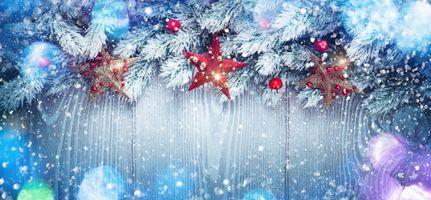 Фото бесплатно Christmas, snow, red stars