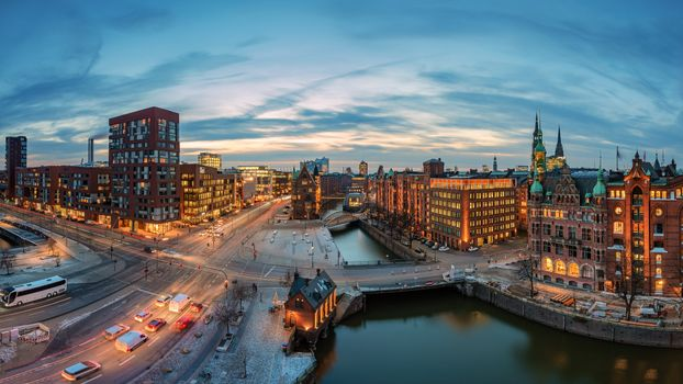 Фото бесплатно закат, Гамбург, огни