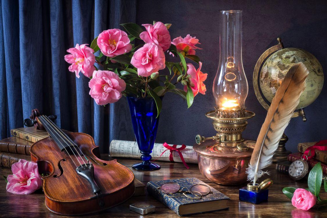 Обои лампа масляная, лампа, антиквар, книги, карманные часы, скрипка, натюрморт картинки на телефон