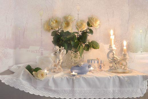 Photo free still life, winter background, flowers