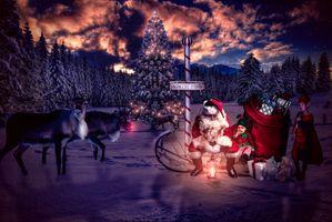 Photo free merry christmas, happy new year, winter