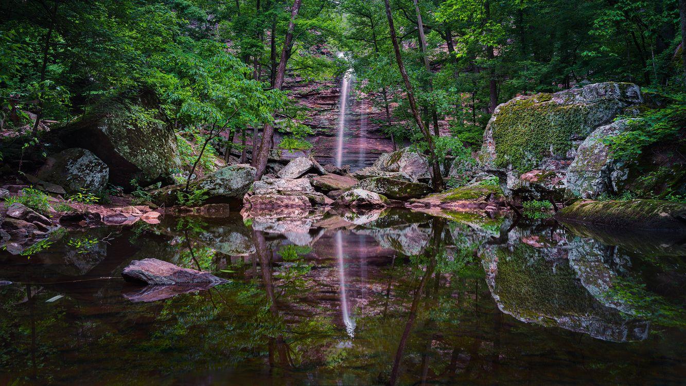 Фото бесплатно Petit Jean State Park, Arkansas, водоём, водопад, скалы деревья, камни отражение, пейзаж, пейзажи