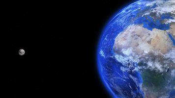 Заставки Луна, Земля, вид со спутника
