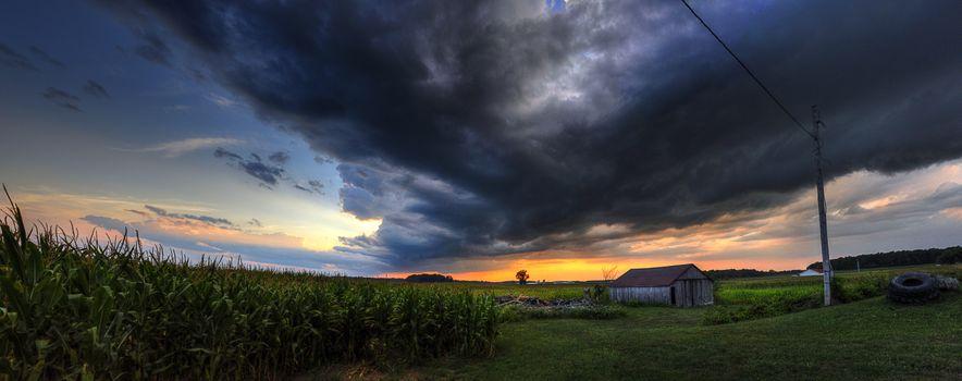 Photo free barn, panorama, field