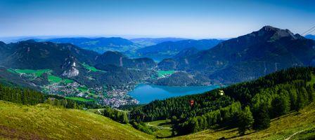 Бесплатные фото Австрия,Санкт-Гильген,канатная дорога на гору Цвельферхорн,Вольфгангзее,озеро,горы,холмы