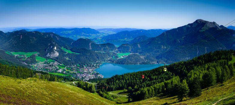 Бесплатные фото Австрия,Санкт-Гильген,канатная дорога на гору Цвельферхорн,Вольфгангзее,озеро,горы,холмы,деревья,дома,природа,пейзаж,панорама