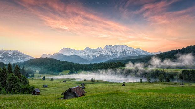 Заставки Озеро Герольдзее,Германия,Geroldsee,Южный Тироль,Альпы,Гармиш,Партенкирхен,сельская местность,Bavaria,Бавария,горы,озеро