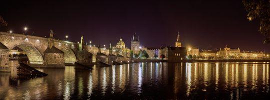 Фото бесплатно Река Влтава, ночной город, город