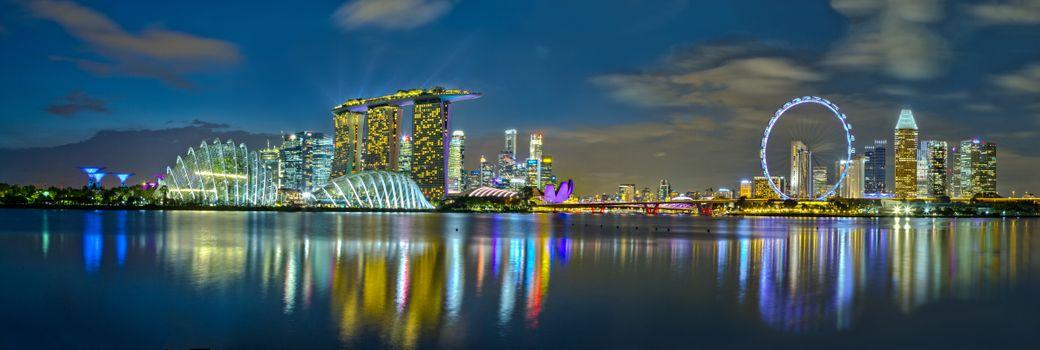 Фото бесплатно Сингапур, освещение, панорама