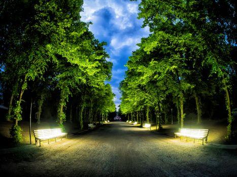 Фото бесплатно Светящиеся скамейки, Hofgarten, Дюссельдорф