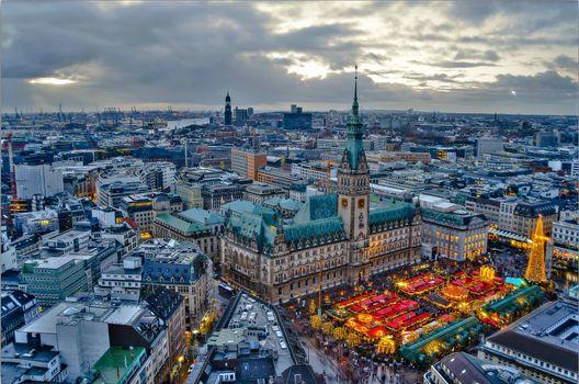 Фото бесплатно Гамбург, Германия, Hamburg, город, дома, здания, закат