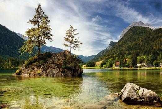 Бесплатные фото Hintersee,озеро,облака,сельская местность,отражение,Bavaria,горы,скалы,деревья,остров,пейзаж