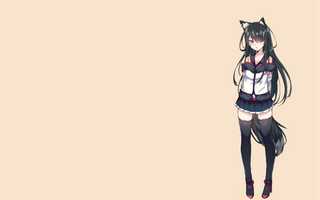 Фото бесплатно оригинальные персонажи, аниме, простой фон, девушка из лисы, кицунемими, зеттай, рюики