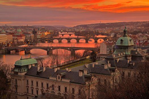 Photo free bridges, town, Vltava River