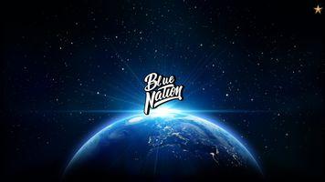 Бесплатные фото Нация ловушки,Синяя нация,планета,космос,надпись,простой фон