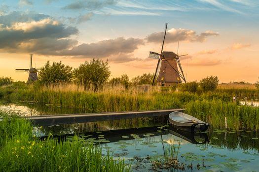 Фото бесплатно Мельницы деревни Киндердейк, Нидерланды, закат