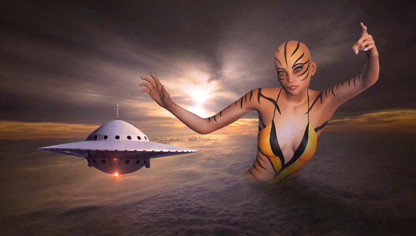 Free photo sunset, sky, girl, flying saucer, aliens, clouds, space - to desktop
