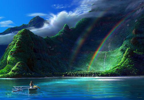 Заставки радуга, пляж, птица